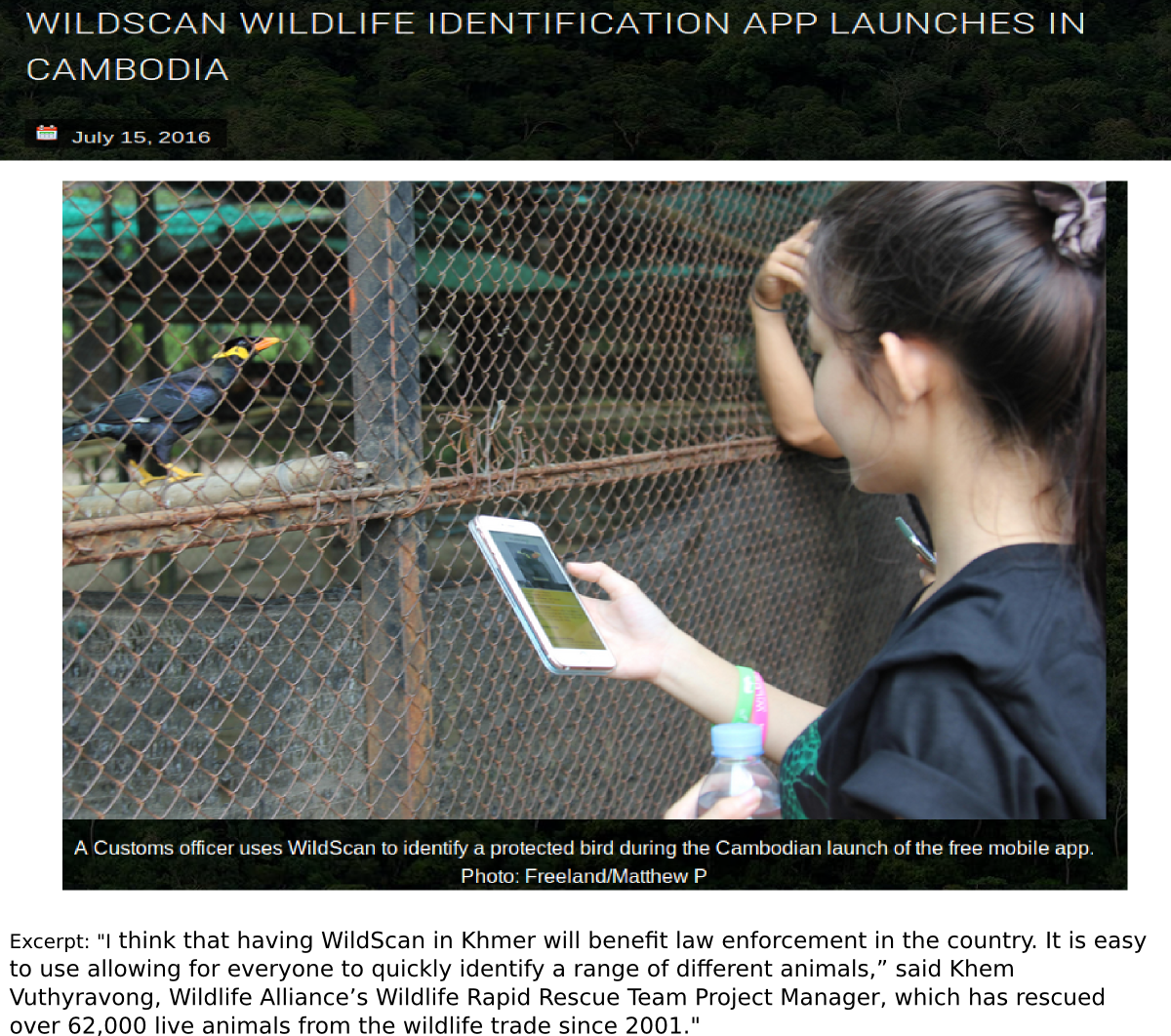 Wildscan Wildlife ID app launches in Cambodia